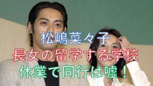 松嶋菜々子 反町隆史 娘 学校